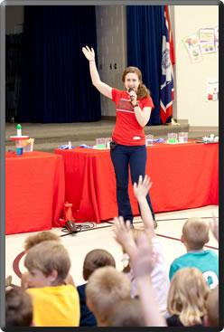 School Science Show students volunteering